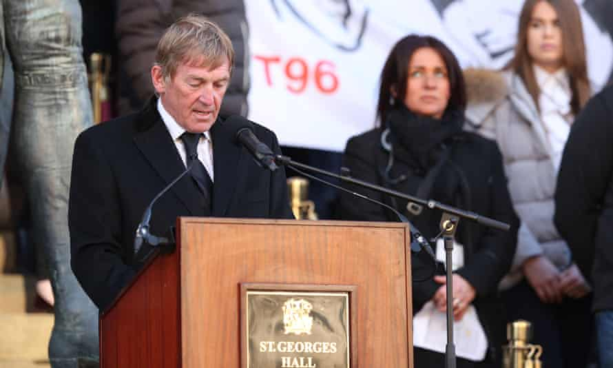 Kenny Dalglish speaking at the Hillsborough memorial vigil in 2016.