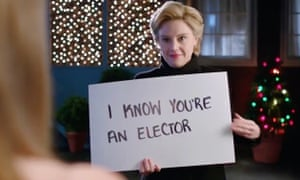 Kate McKinnon's Hillary Clinton appeals to a voter in Saturday Night Live sketch taking off a scene from film Love, Actually.