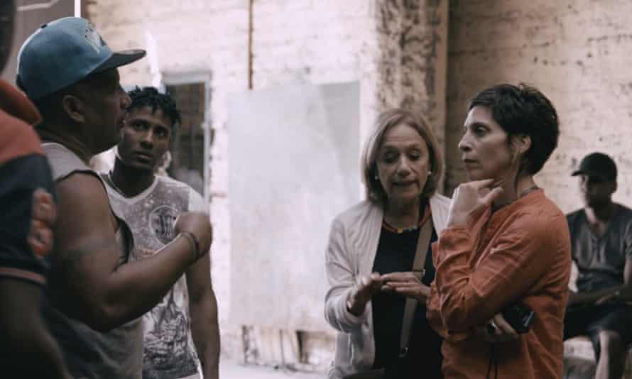 Engaging presence … Farha meets residents in Barcelona.