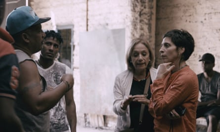 Engaging presence … Farha meets residents in Barcelona.
