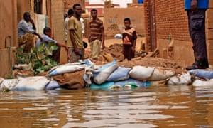 A barricade against flood waters in Tuti island, where the Blue and White Nile merge in the Sudanese capital, Khartoum.