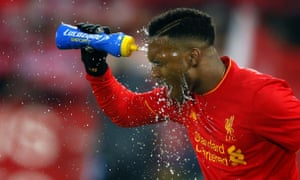 Daniel Sturridge squirts water over his face ahead of the EFL Cup semi final second leg match between Liverpool and Southampton.