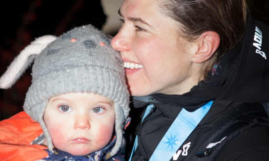 'I missed my family most at the start' … Jasmin Paris with 14-month-old Rowan after winning the Montane Spine Race on Wednesday.