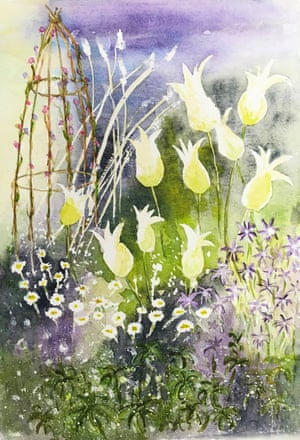 Painting of the garden at Pear Tree Court in Hampshire.