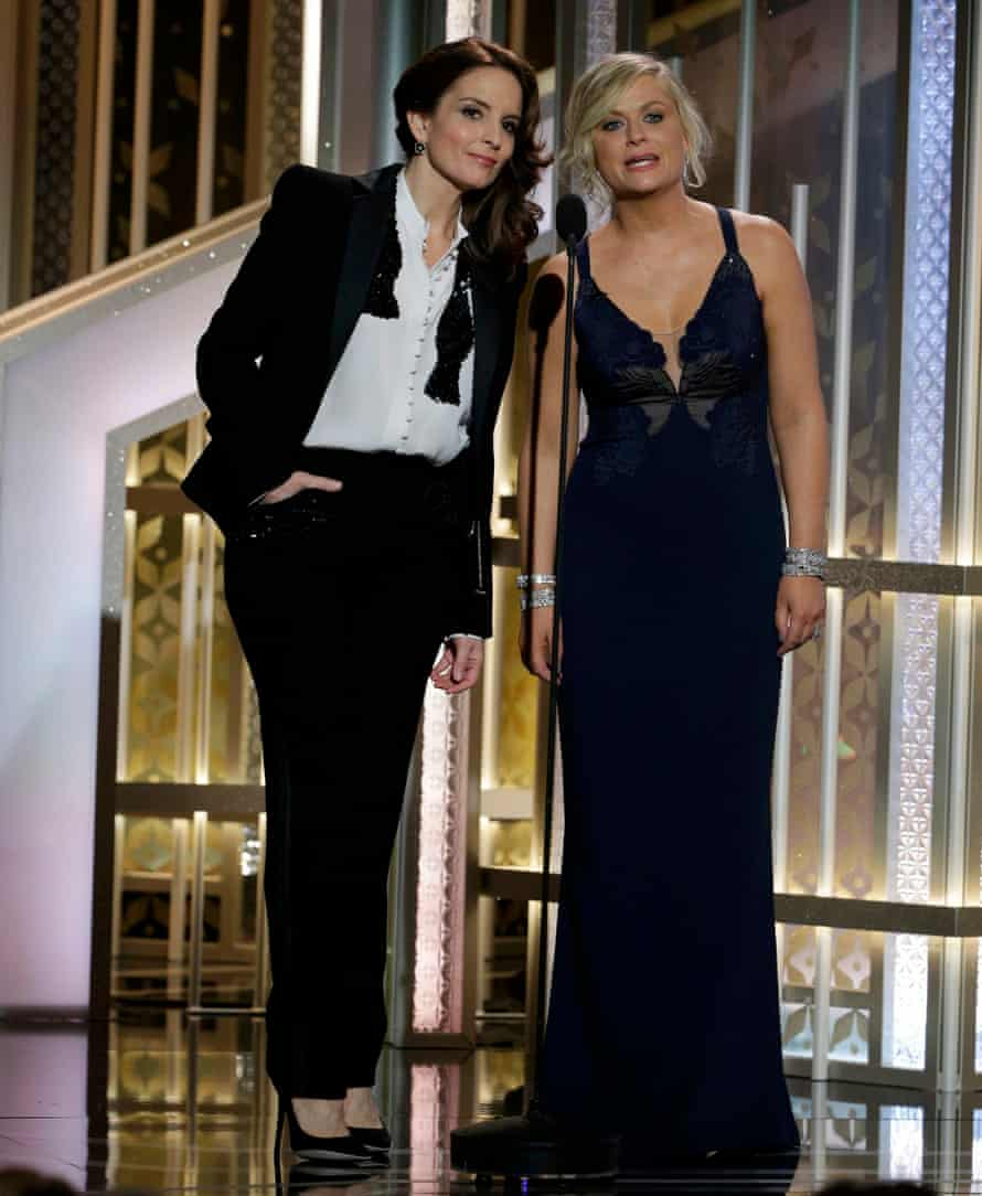 Tina Fey and Amy Poehler hosting the Golden Globe awards in 2015