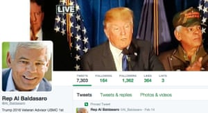 The main image of Baldasaro's Twitter profile is indicative of his level of support of Trump.