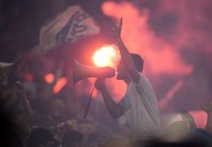 Marseille fans cheer on their team.