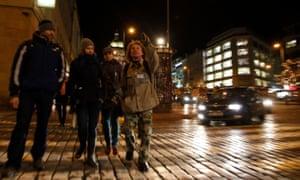 Honza leads his tour group through Wenceslas Square in Prague.