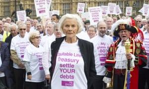 Honor Blackman with victims of the Equitable Life pension scandal demonstrating outside parliament in London in 2014