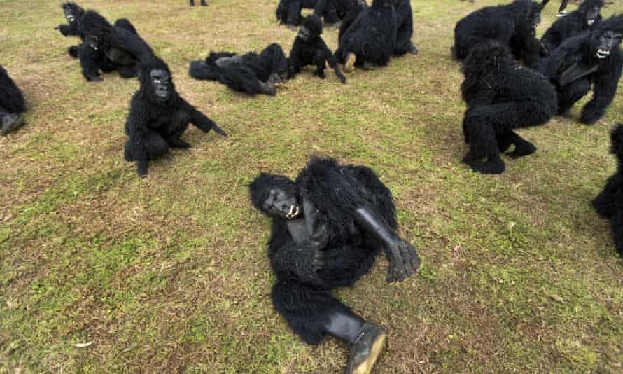 The 'gorillas' grunted and rolled in the grass to the delight of thousands of villagers, diplomats and president Paul Kagame