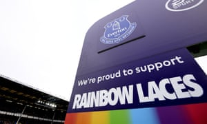 The Rainbow Laces campaign stand before the Premier League match between Everton and Chelsea on Saturday.