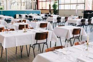 The restaurant at De School, Amsterdam.