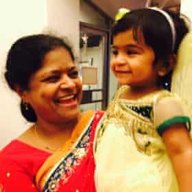 Aleyamma John and her granddaughter.