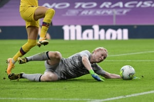 Atletico Madrid's goalkeeper Hedvig Lindahl stretches to make the save.