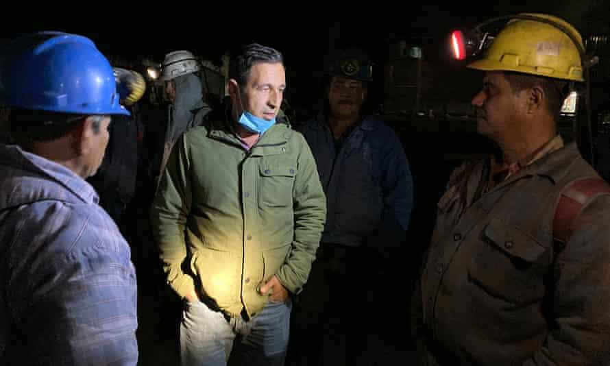 Arturo Rivera Wong speaks to employees at his coal mine in San Juan de Sabinas, Coahuila state.