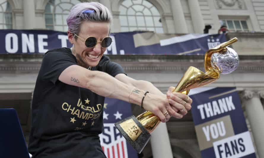 Megan Rapinoe celebrates at City Hall in New York.