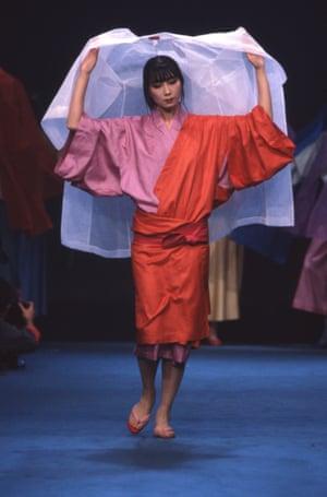 Kenzo's 1983 collection featuring a colour-blocked kimono