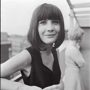 Sandy Shaw photographed on the balcony at the EMI offices, at a party held for Jackie Trent in 1965