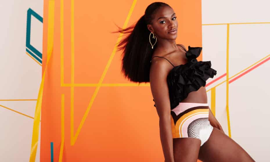 'The stakes are so high': Dina Asher-Smith wears black crop top by msgm.it; briefs by miumiu.com; and earrings by goosens-paris.com.