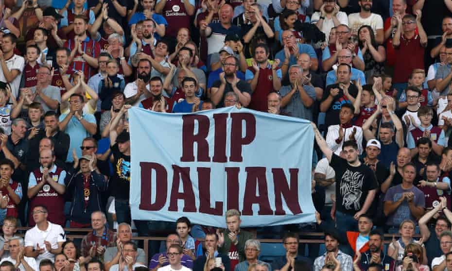 Aston Villa fans pay tribute to their former striker Dalian Atkinson.