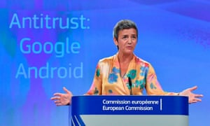 EU competition commissioner Margrethe Vestager announcing a record fine on Google last week.
