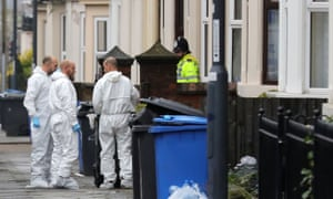 A forensics team outside a house in Leopold Street, Derby, after the arrests on Monday.