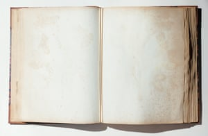 Blank pages in open antique book