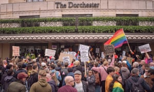 Protesters outside the Dorchester hotel, which is owned by the Sultan of Brunei.
