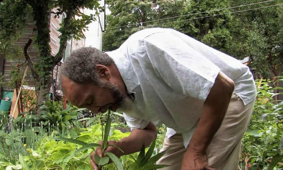 The jazz drummer, herbalist, biologist, visual artist and martial arts practitioner in his garden.