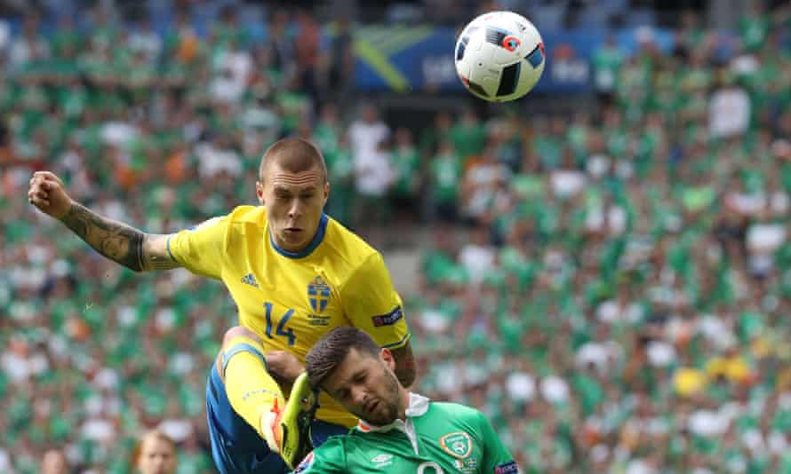 Victor Lindelof, in action here for Sweden against Republic of Ireland at Euro 2016, is regarded as mature beyond his 22 years.
