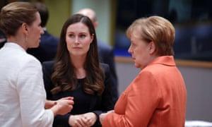 The German chancellor, Angela Merkel, right, Finland's prime minister, Sanna Marin, centre, and Denmark's prime minister, Mette Frederiksen.