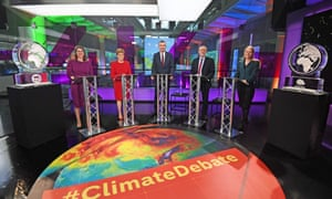 Party leaders at the climate debate on Channel 4, with Boris Johnson and Nigel Farage empty-chaired with blocks of ice.