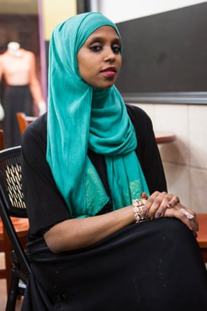 Hibaaq Osman sits at her family-owned cafe at Karamel mall, one of two major malls in Minneapolis with almost entirely Somali businesses and customers