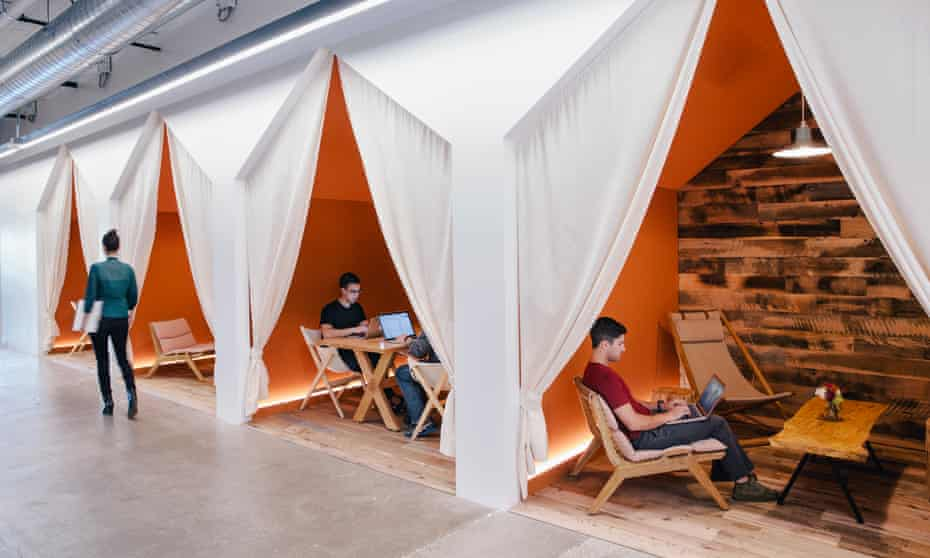 Camping meeting rooms at Airbnb's offices in San Francisco. Under the plan, a tax on companies such as Airbnb would fund affordable housing and services for the homeless.