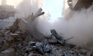The aftermath of an airstrike by Syrian government forces in Damascus