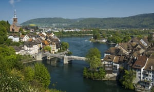 Laufenburg in Germany on the left, and Laufenburg in Switzerland on the right