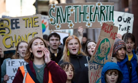 Young climate protesters at a demonstration in Leeds