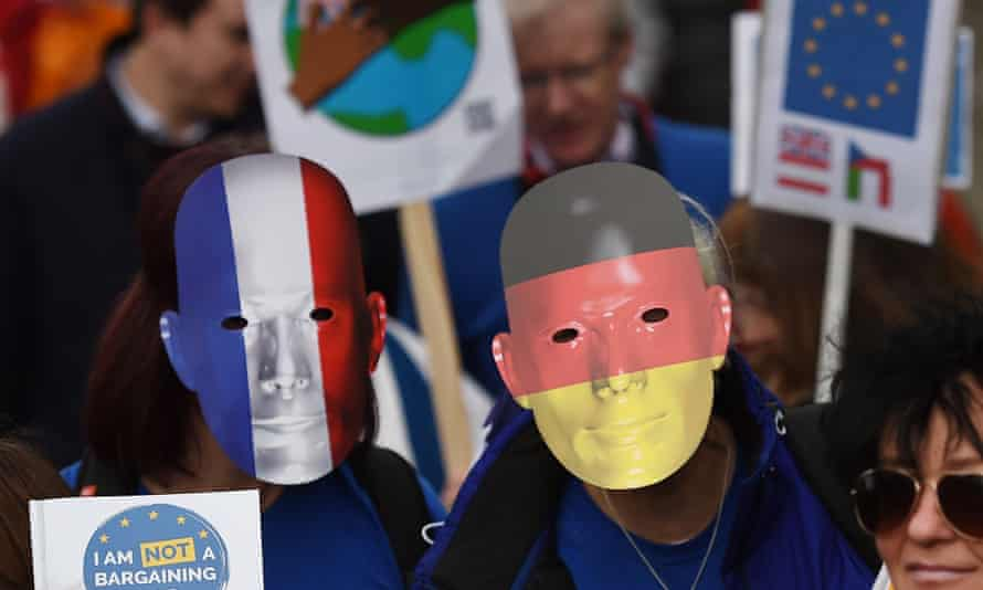 EU citizens protests outside parliament in London.