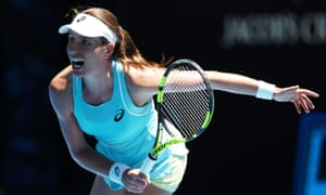 Johanna Konta during her victory against Madison Brengle in the first round of the Australian Open