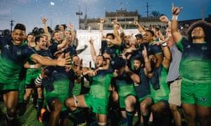 Seattle Seawolves celebrate winning the first MLR title.
