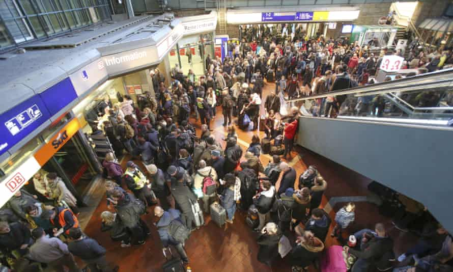 Passengers were left stranded in the central train station in Hamburg, Germany on Sunday.