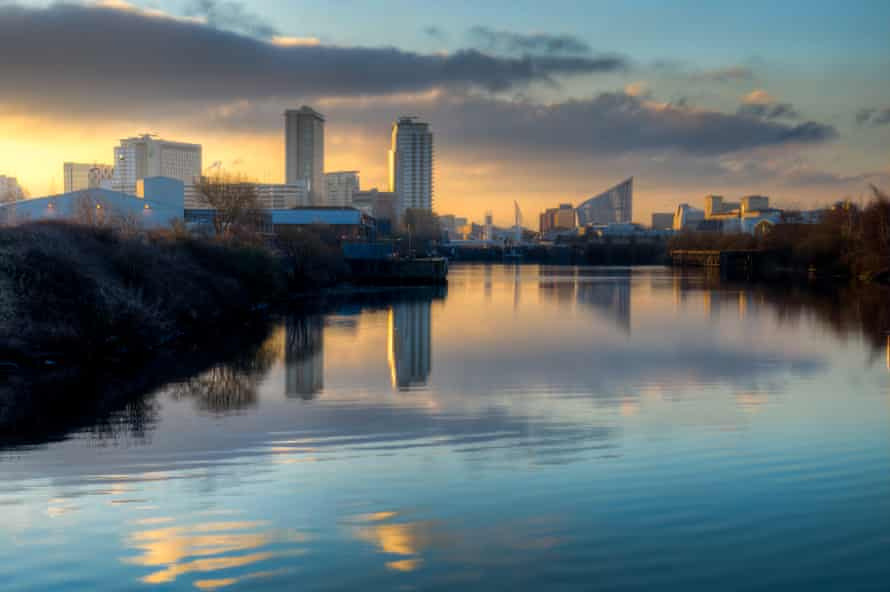 A spring morning in Salford Quays, Manchester.