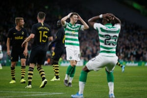 Celtic's Michael Johnston reacts after missing a chance.