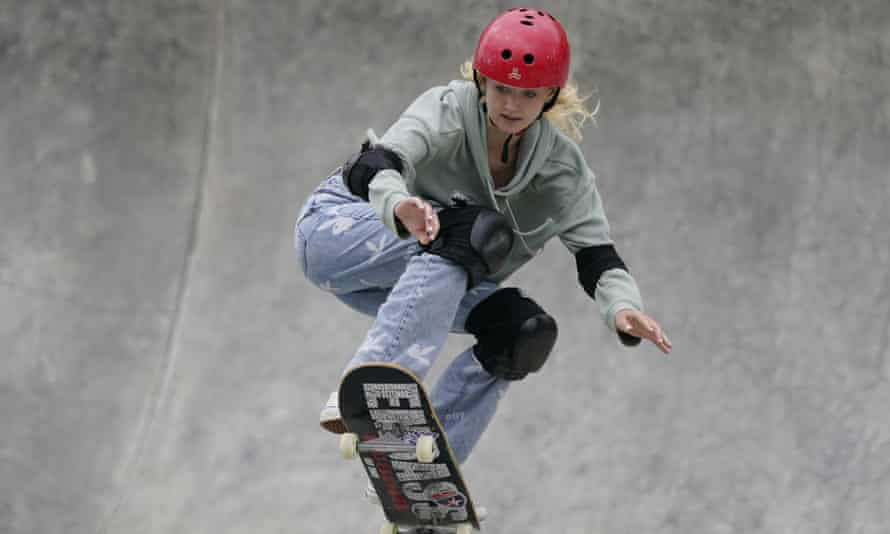 Bombette Martin at the Olympic skateboard qualifier in Des Moines, Iowa, last May.