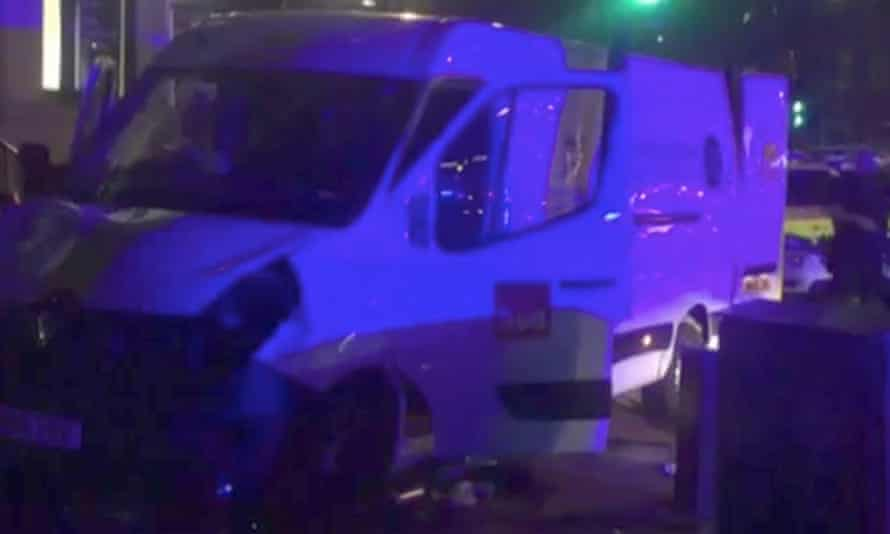 The white van after the attack.