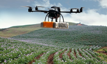 A drone equipped with a camera hovers over potato crops in Peru.
