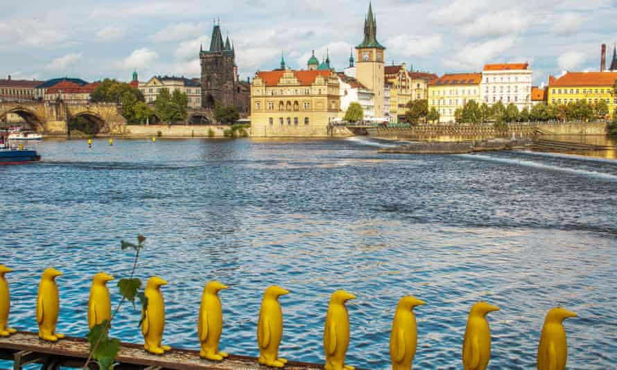 Yellow penguins at Kampa island in the historic centre of Prague.