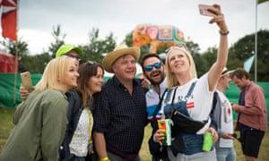 Ed Balls in selfie with festival goers