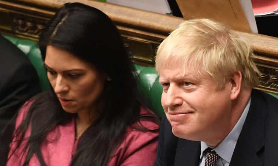 Boris Johnson in the Commons with Priti Patel