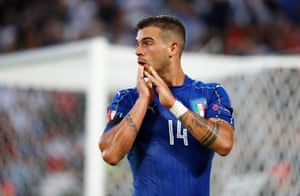 Stefano Sturaro reacts after coming close with a shot from Giaccherini's cut-back.